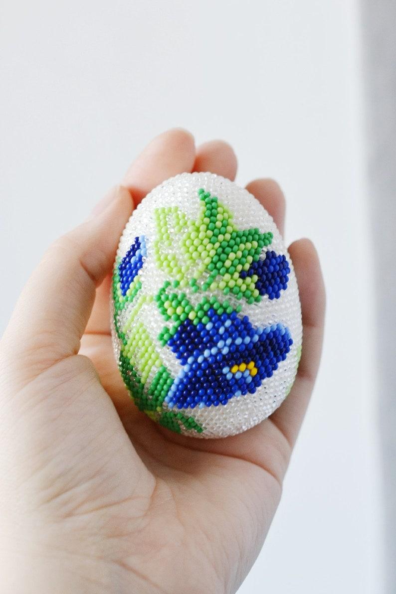 Easter decor easter egg decorations Easter egg with blue flower spring decor beaded egg