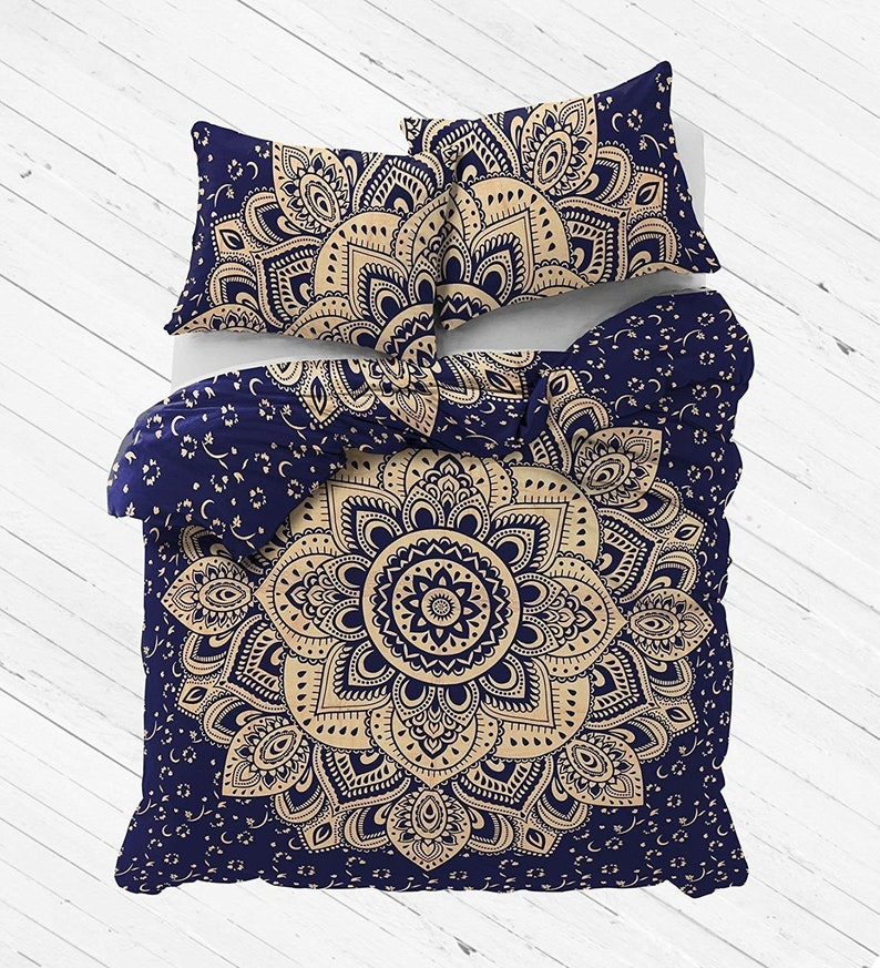 Gold Ombre Mandala Indian Bedding Set Bohemian Hippie Queen Size Bed Sheet Throw