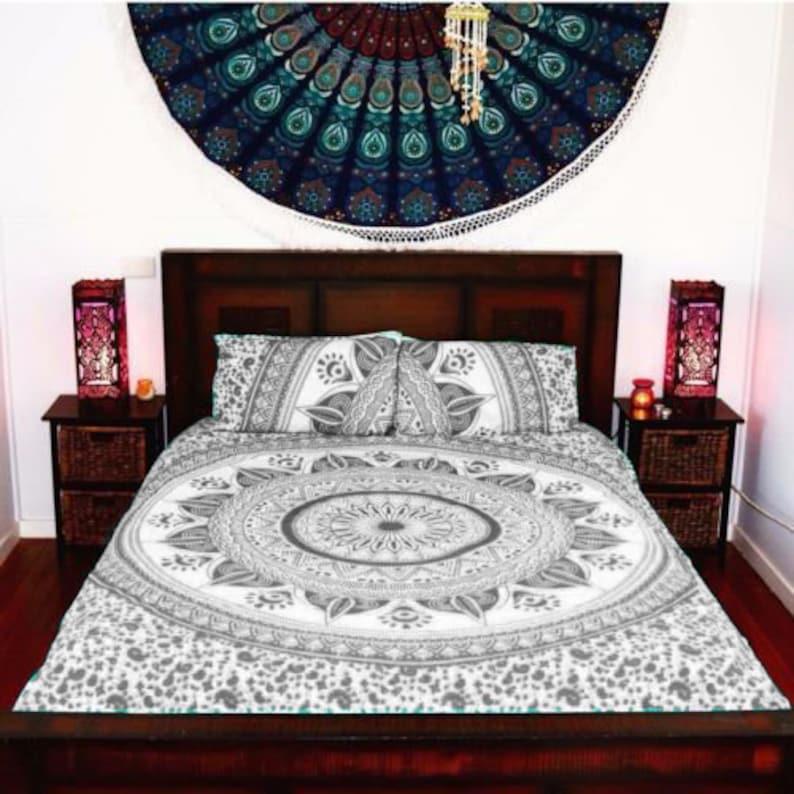 Ombre Mandala Indian Duvet Doona Cover King Size Throw Bedding Quilt Blanket Set