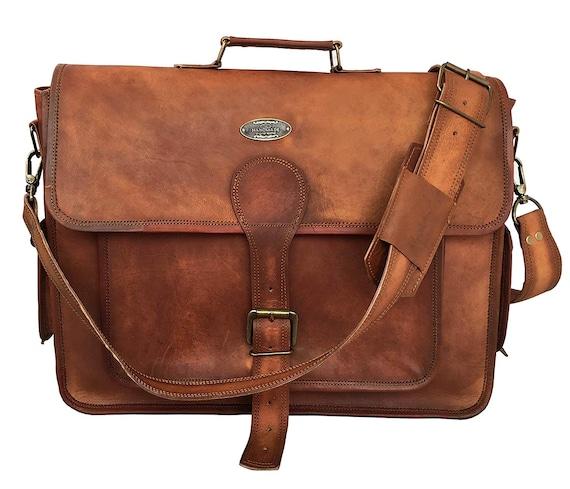 7e6b2e62d01 18 Inch Rustic Vintage Leather Messenger Bag Laptop Bag   Etsy