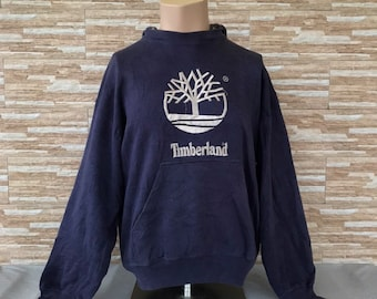 promo code db8c6 ce3de Vintage 90s Timberland Big Logo Embroidery Hoodie Crewneck Timberland  Jumpers Dark Blue Colours Pullover Medium Size