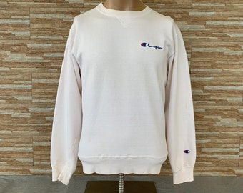 2be36318f1dc0 Vintage Champion Spellout Embroidered Sweatshirts Crewneck Champion Jumpers  White Colours Pullover Large Size