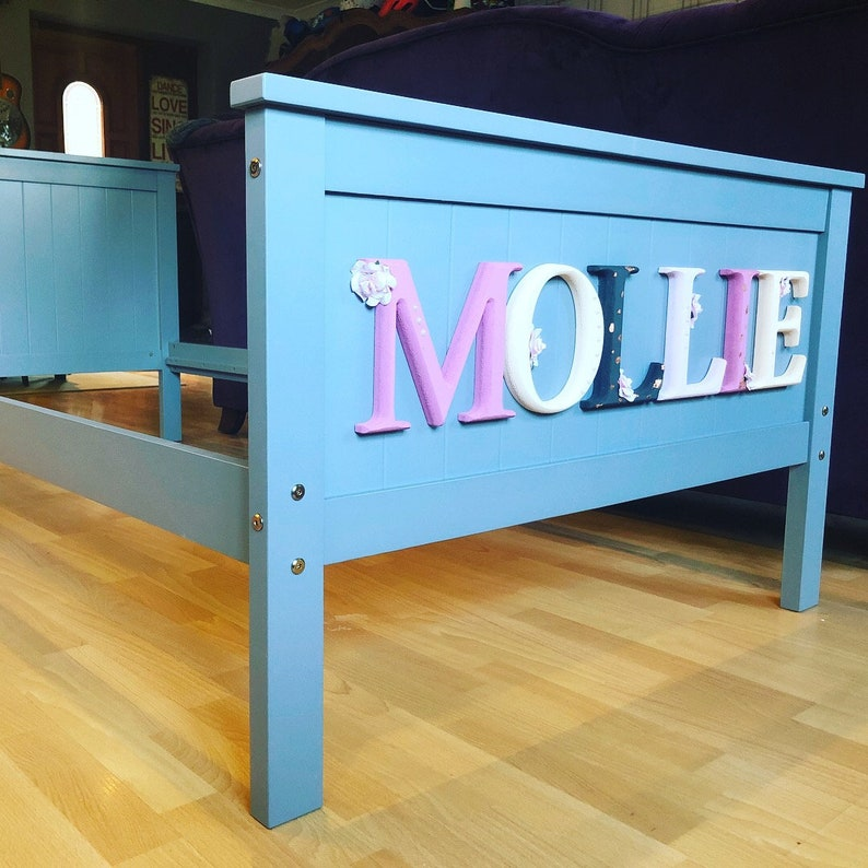 Personalised Children's Bed with hand painted carved wooden letters and  unique painted lettering in any colour or font  For Boys and Girls