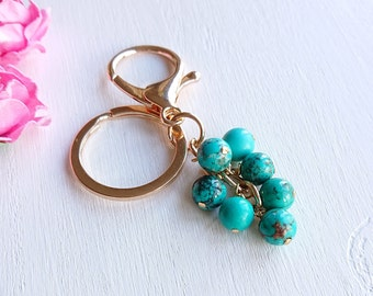 Natural Turquoise Stone Keyring Clip On Bag Key Birthday Gift Genuine Blue Gemstone Accessory Golden Silver Plated Big Keychain With Clasp