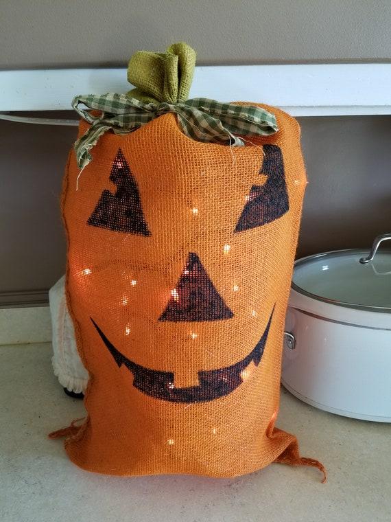 Lighted Pumpkin Burlap Bag Etsy