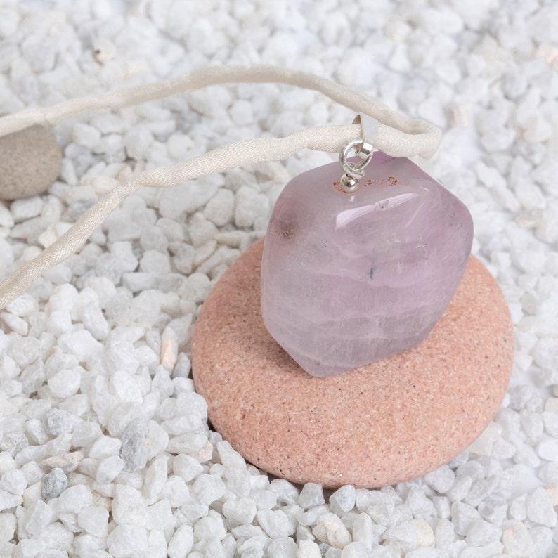 Kunzite pendant in sterling silver  pink spodumen polished image 0