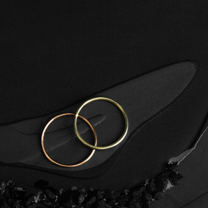 RINGSET of 2 delicate rings from solid 14kt rose gold and image 0