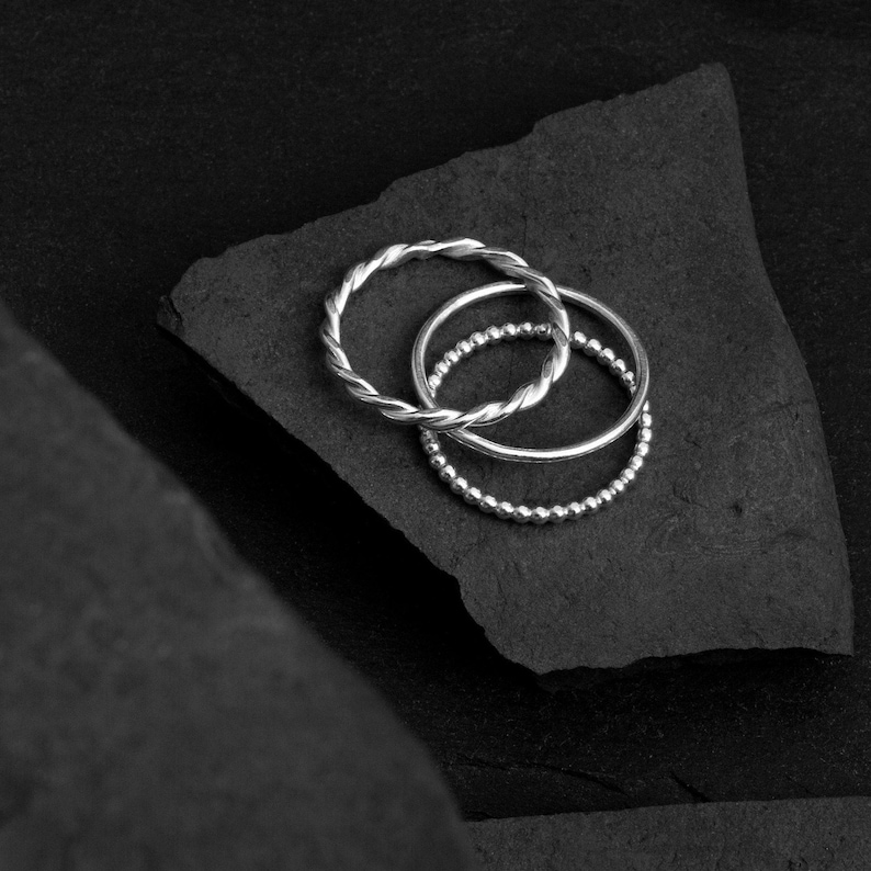 RINGSET of 3 in 925 Sterlingsilver  Delicate Ringbands Mixed image 0