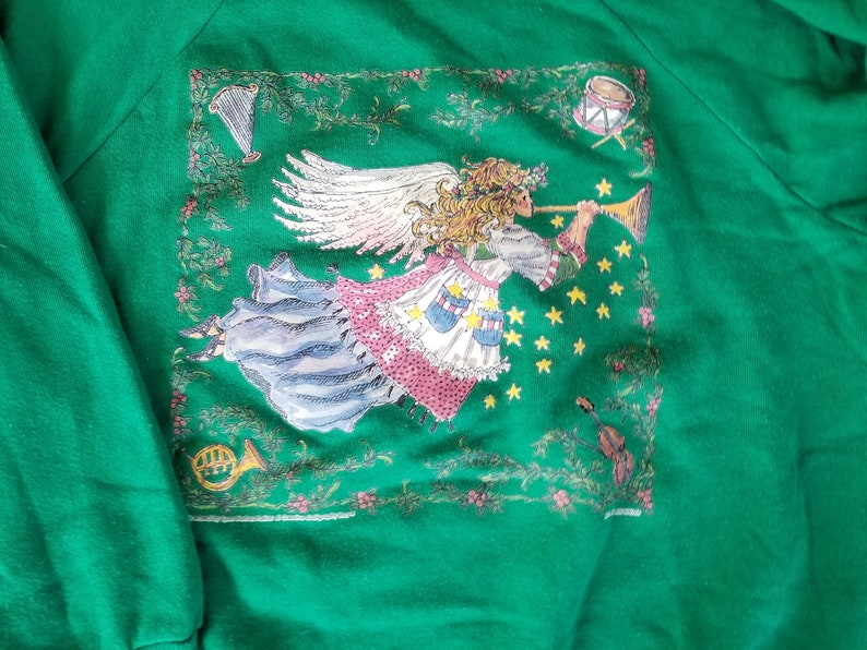 Vintage Ugly Christmas Sweater Puffy Paint Angel Size Large