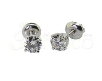 53bc5c02f 0.25 ct 4 Prong Screw back Solitaire Studs with F-G Color,VS Clarity  Diamonds in 14KT White Gold.