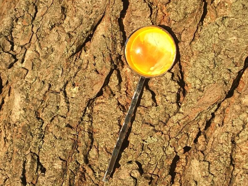 Hair accessory Hair jewellery French creator Handmade Sun watercolour hair pin