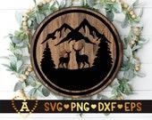 Deer Family Forest SVG, Deer Svg, Deer Mountain Scene Svg, Reindeer, Stag, Doe, Buck, Silhouette Png Eps Dxf Vinyl Decal Digital Cut Files