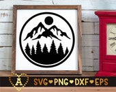 Mountain Scene Svg, Landscape Svg, Forest Svg, Camping Outdoors Adventure Svg, Hunting Silhouette Png Eps Dxf Vinyl Decal Digital Cut Files