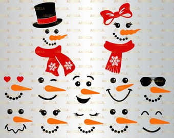 Snowman Faces for Boys and Girls SVG  Snowwoman Face Digital Download  Snow Person Face With Hat and Bow SVG