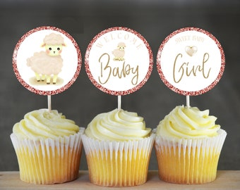 Baby Shower Cupcake Toppers Girl SS2 Printable Cupcake Toppers Pink Lamb Instant Download Baby Shower Pintable/'s Easy-Print-Trim-DONE