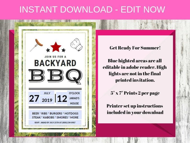Backyard Bbq Wedding Invitations: Summer BBQ Invitation Backyard BBQ Invite Summer Party