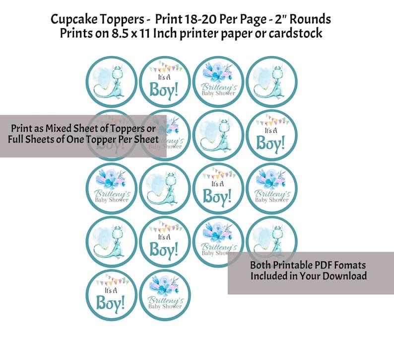 2 Inch 06Z Print 18-20 Toppers Per Page Dragon Cupcake Toppers Unique Dragon Baby Shower Boy Dragon Baby Shower Blue Dragon Toppers