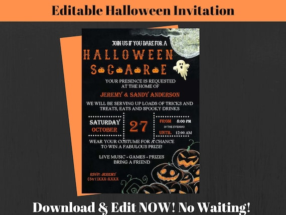 ANY Wording Fun and Fabulous Halloween Party Collection Halloween Invitation Printable or Printed with FREE SHIPPING