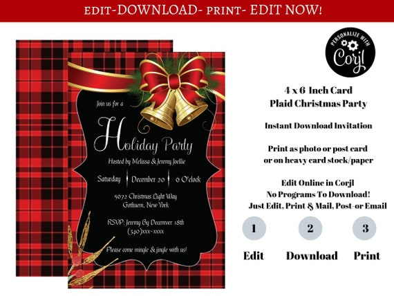 Plaid Christmas Party Invitation Template Lumber Jack Plaid Editable Invitations Instantly Download And Print Edit Now No Waiting