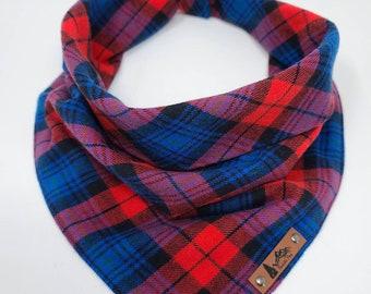 "Dog Bandana ""Westport"" Red and Blue plaid cotton flannel dog neck wear Dog clothes BoHo style"