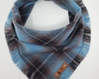 "Dog Bandana ""Lakewood"" Blue and Brown plaid with Frayed Edges cotton flannel dog neck wear Dog Neckwear Dog clothes"