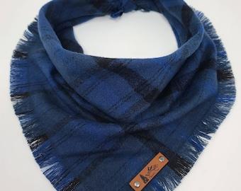 """Dog Bandana """"Detroit"""" Blue and Black plaid with Frayed Edges cotton flannel dog neck wear Dog Neckwear Dog clothes"""
