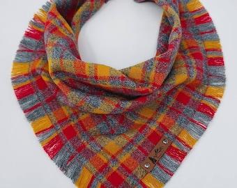 "Dog Bandana ""Bonfire"" Gray, Red and Gold plaid with Frayed Edges cotton flannel dog neck wear Dog Neckwear Dog clothes"