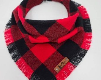 "Dog Bandana ""Buckley""  Red and Black Buffalo plaid with Frayed Edges cotton flannel dog neck wear Dog Neckwear Dog clothes"