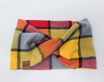 "Dog infinity Scarf ""Dayton"" Twist Scarf in Red, Yellow and Orange flannel dog neck wear BoHo style"