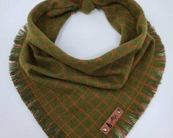 """Dog Bandana """"Ennis"""" Olive and Orange plaid with Frayed Edges cotton flannel dog neck wear Dog Neckwear Dog clothes"""