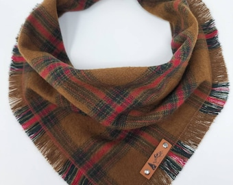 """Dog Bandana """"Malott"""" Brown and Red plaid with Frayed Edges cotton flannel dog neck wear Dog Neckwear Dog clothes"""