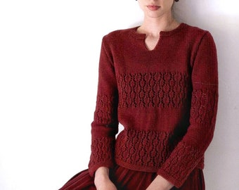 Red vine wool lace sweater pullover jumper v-neck. Maroon Burgundy Sweater.  Vintage Bright Red Knitted Jumper. Minimalist Warm Winter Pull 9ef53f910