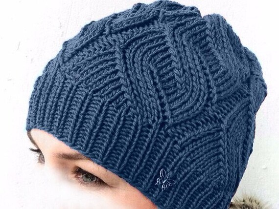 f86c916d339 Silk cotton cashmere knit hat beanie for woman. Aran cable