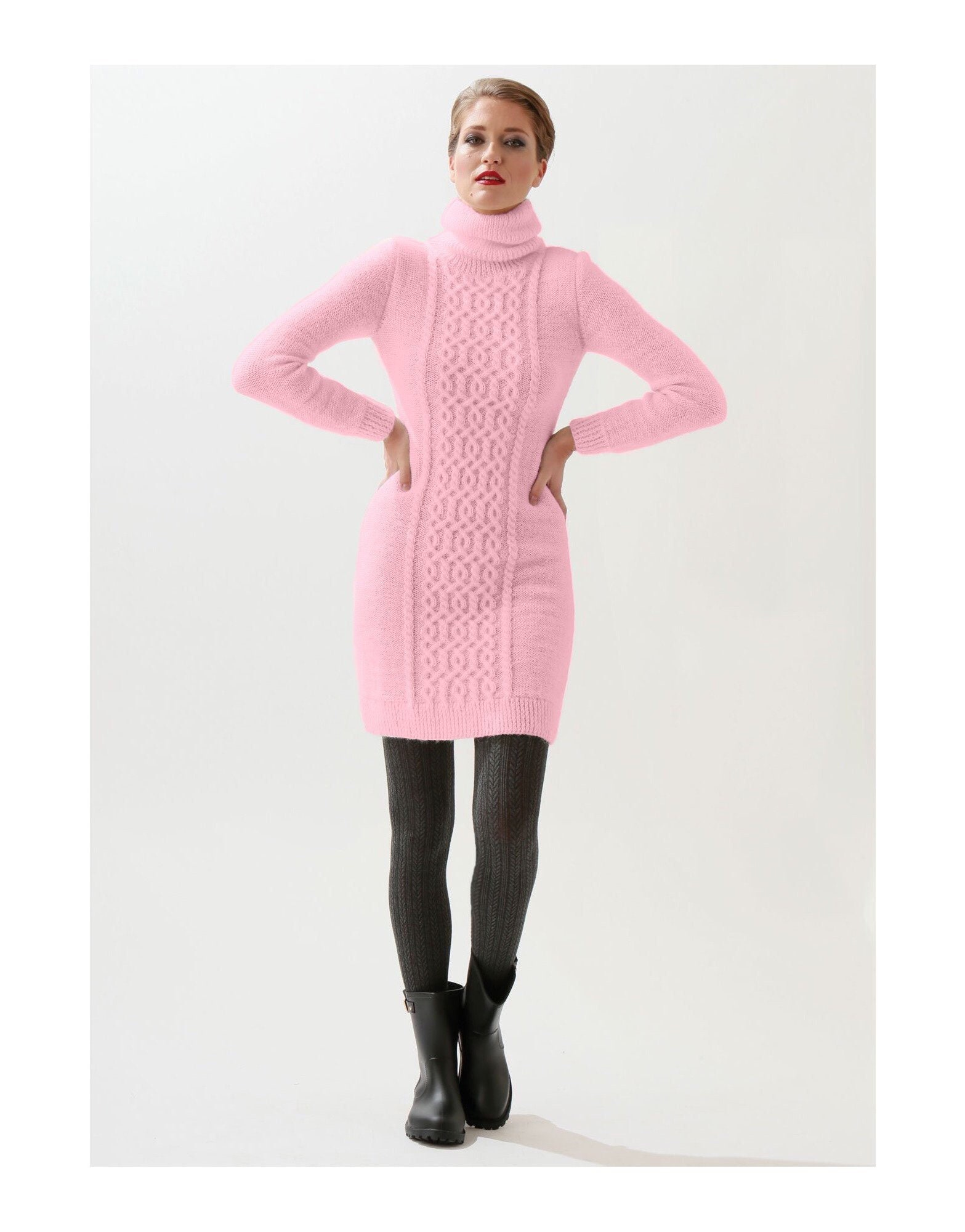 311c3ad775 Gentle pink dress with a high collar turtleneck. Dress with