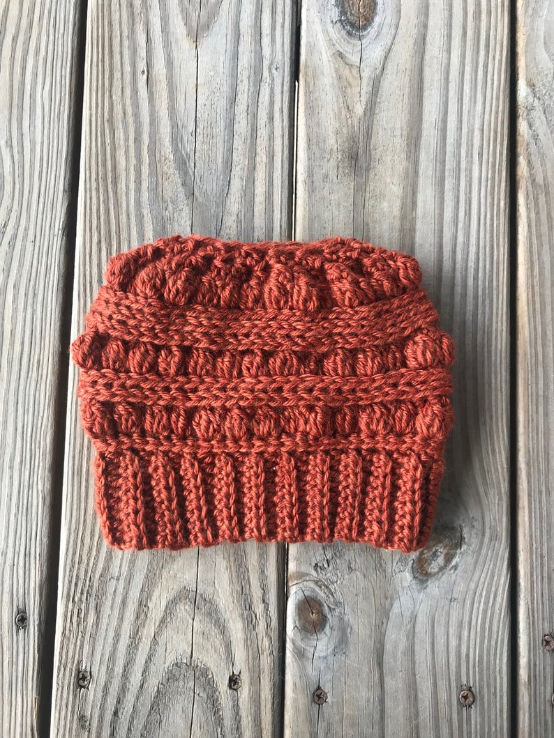 The LJ Messy Bun Beanie Handmade Messy Bun Hat Crocheted Beanie Messy Bun Beanie Mom Hair Beanie