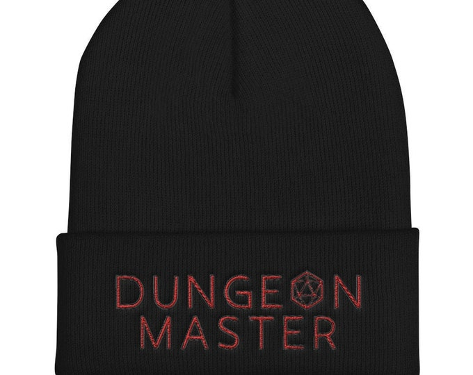 Dungeon Master Cuffed Beanie | Embroidered d20 Gamer Hat