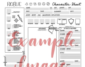 Rogue Class-Themed Character Sheet Printable | Downloadable Dungeons & Dragons Gaming Supplies