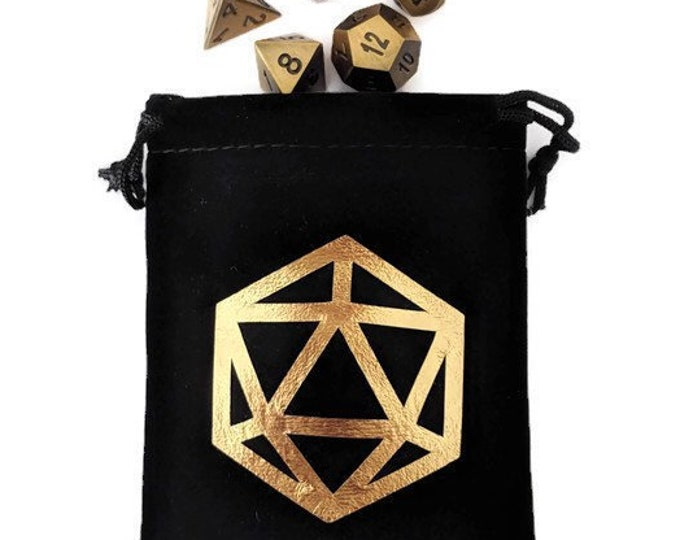 Foil d20 Silhouette Dice Bag | 4 Color Options, Pouch for Polyhedral Dice