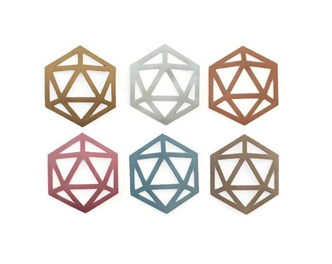 Metallic D20 Vinyl Sticker | 20-Sided Tabletop Gaming Dice Design