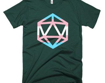 d20 Trans Pride Flag T-Shirt | Short-Sleeve Transgender Gamer Tee