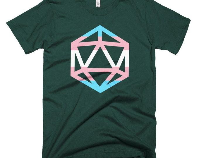 d20 Trans Pride Flag T-Shirt   Short-Sleeve Transgender Gamer Tee