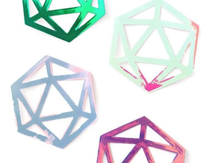 Holographic D20 Vinyl Sticker Set #2 | Tabletop Gaming 20-Sided Dice Design