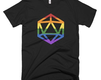 d20 LGBTQIA+ Pride Flag T-Shirt | Short-Sleeve Gamer Tee