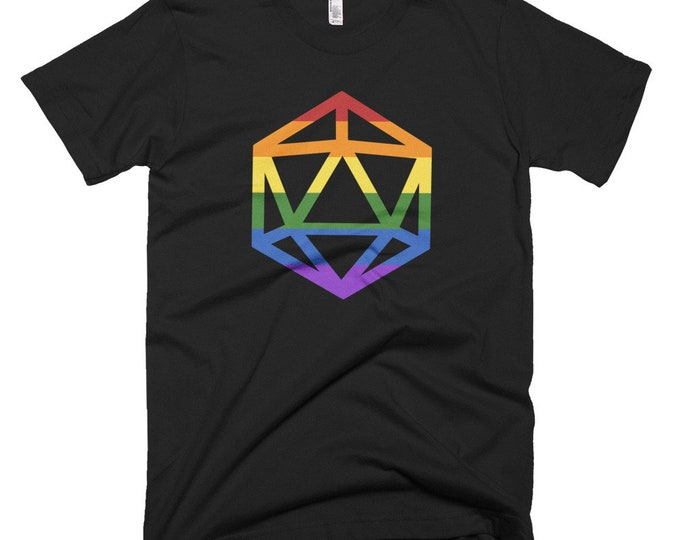 d20 LGBTQIA+ Pride Flag T-Shirt | Short-Sleeve Gamer Tee