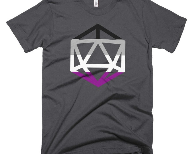 d20 Asexual Pride Flag T-Shirt   Short-Sleeve Ace Gamer Tee