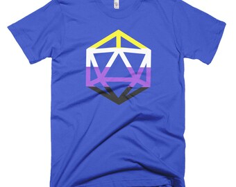 d20 Non-Binary Pride Flag T-Shirt | Short-Sleeve Enby Gamer Tee