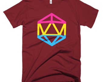 d20 Pansexual Pride Flag T-Shirt | Short-Sleeve Pan Gamer Tee