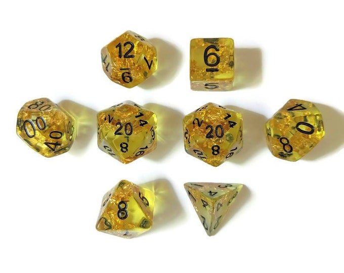 Yellow with Gold Flake 8-Piece Handmade Polyhedral Dice Set