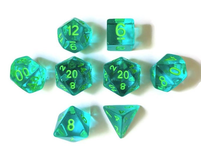Translucent Blue with Green Ink 8-Piece Handmade Polyhedral Dice Set