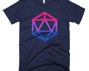 d20 Bisexual Pride Flag T-Shirt | Short-Sleeve Gamer Tee